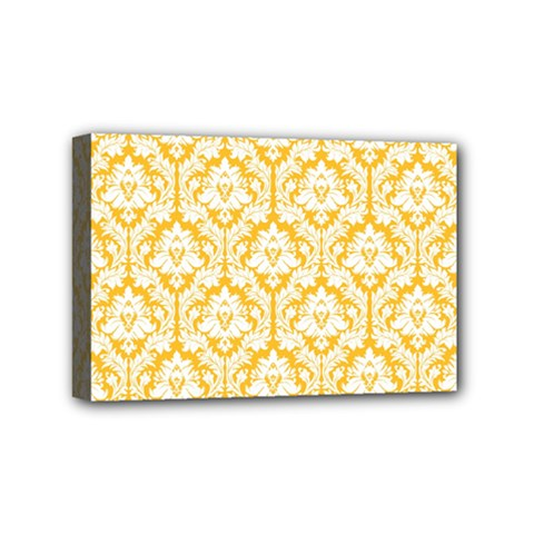 White On Sunny Yellow Damask Mini Canvas 6  x 4  (Framed)