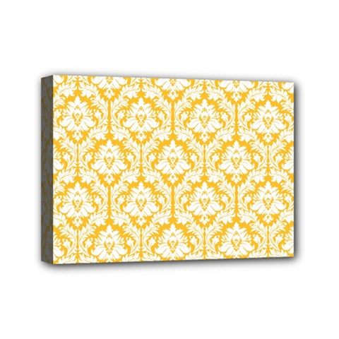 White On Sunny Yellow Damask Mini Canvas 7  x 5  (Framed)