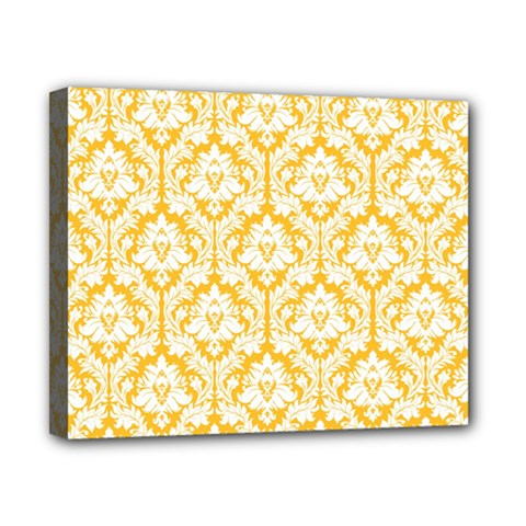 White On Sunny Yellow Damask Canvas 10  X 8  (framed)