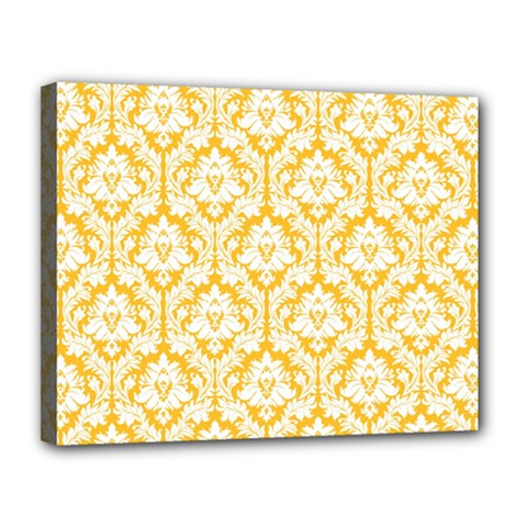 White On Sunny Yellow Damask Canvas 14  x 11  (Framed)