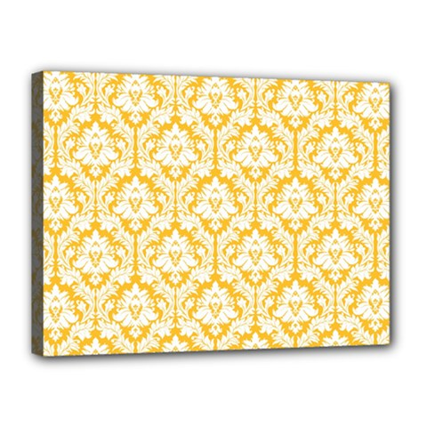 White On Sunny Yellow Damask Canvas 16  X 12  (framed)