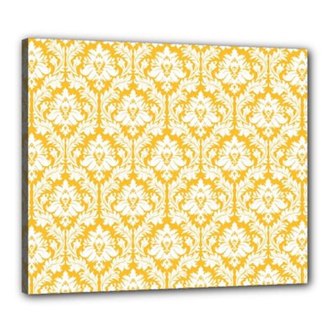 White On Sunny Yellow Damask Canvas 24  x 20  (Framed)