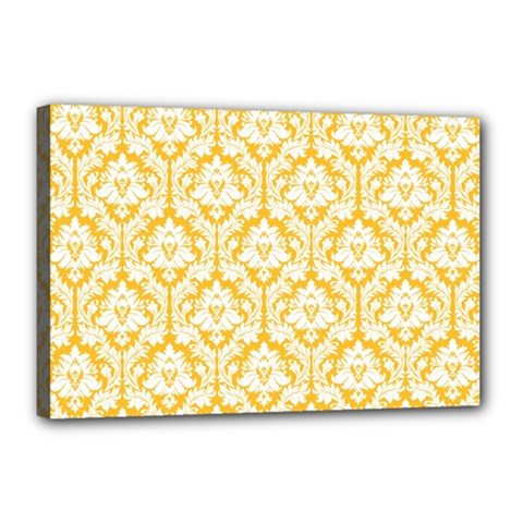 White On Sunny Yellow Damask Canvas 18  X 12  (framed)