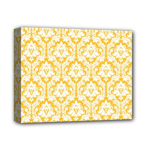White On Sunny Yellow Damask Deluxe Canvas 14  x 11  (Framed)