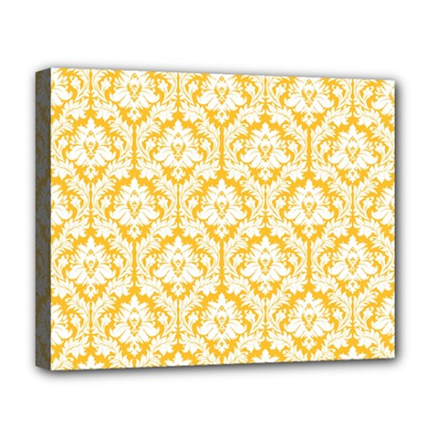 White On Sunny Yellow Damask Deluxe Canvas 20  X 16  (framed)