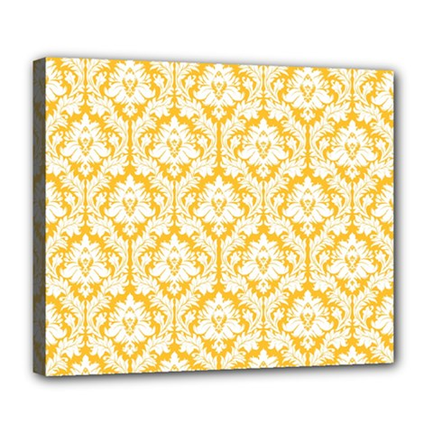 White On Sunny Yellow Damask Deluxe Canvas 24  x 20  (Framed)
