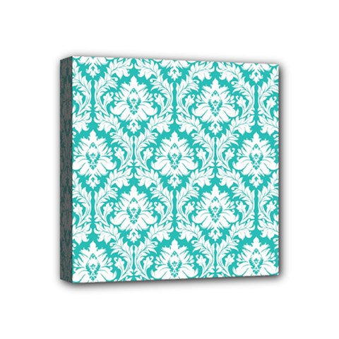 White On Turquoise Damask Mini Canvas 4  x 4  (Framed)
