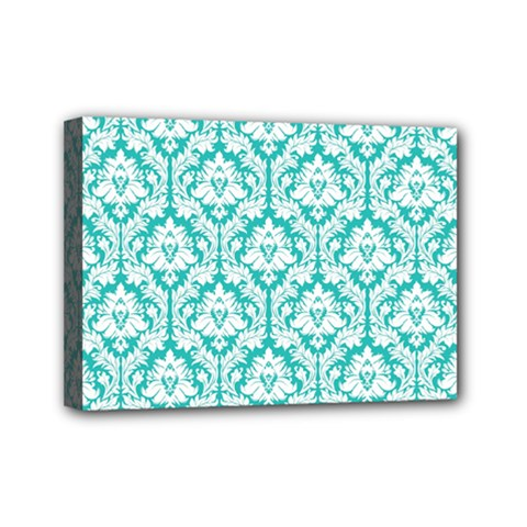 White On Turquoise Damask Mini Canvas 7  X 5  (framed)
