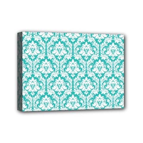 White On Turquoise Damask Mini Canvas 7  x 5  (Framed)
