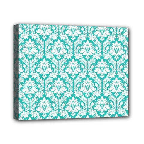 White On Turquoise Damask Canvas 10  x 8  (Framed)