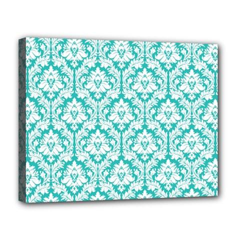 White On Turquoise Damask Canvas 14  x 11  (Framed)