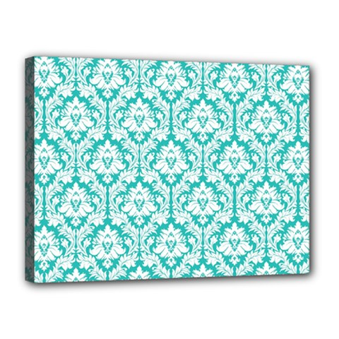 White On Turquoise Damask Canvas 16  x 12  (Framed)