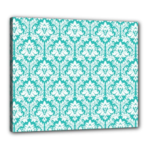White On Turquoise Damask Canvas 24  x 20  (Framed)