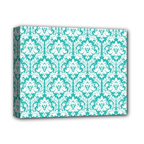 White On Turquoise Damask Deluxe Canvas 14  x 11  (Framed)