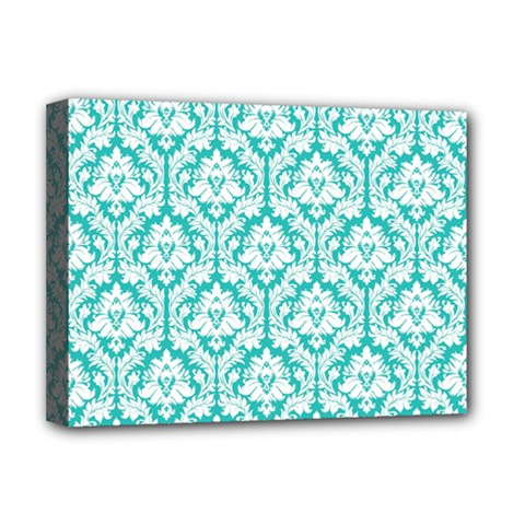 White On Turquoise Damask Deluxe Canvas 16  x 12  (Framed)