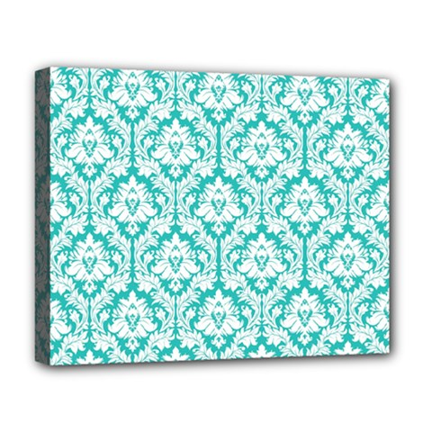 White On Turquoise Damask Deluxe Canvas 20  x 16  (Framed)