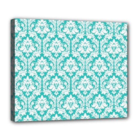 White On Turquoise Damask Deluxe Canvas 24  x 20  (Framed)
