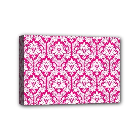 White On Hot Pink Damask Mini Canvas 6  X 4  (framed)