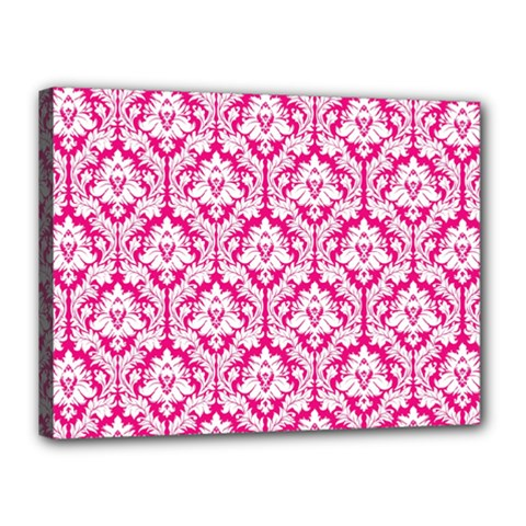 White On Hot Pink Damask Canvas 16  x 12  (Framed)