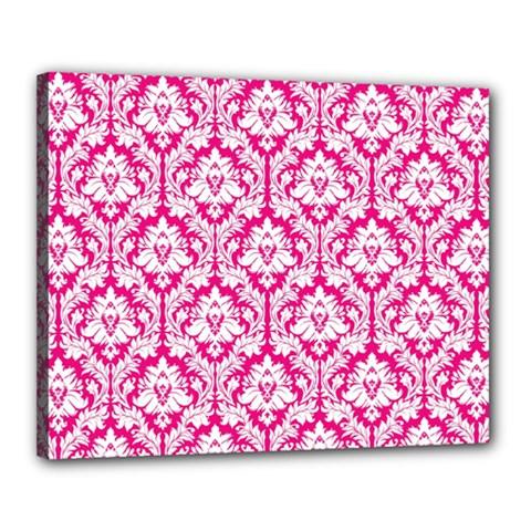 White On Hot Pink Damask Canvas 20  x 16  (Framed)