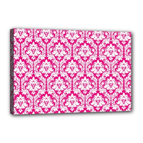 White On Hot Pink Damask Canvas 18  x 12  (Framed)
