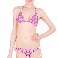 Hot Pink Damask Pattern Bikini Set