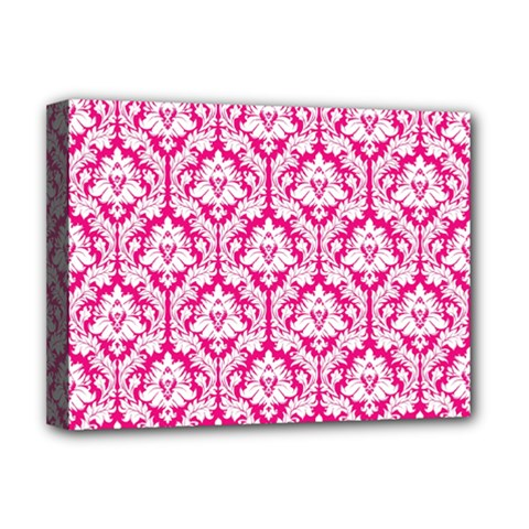 White On Hot Pink Damask Deluxe Canvas 16  X 12  (framed)