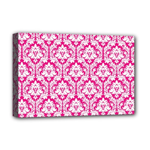 White On Hot Pink Damask Deluxe Canvas 18  x 12  (Framed)