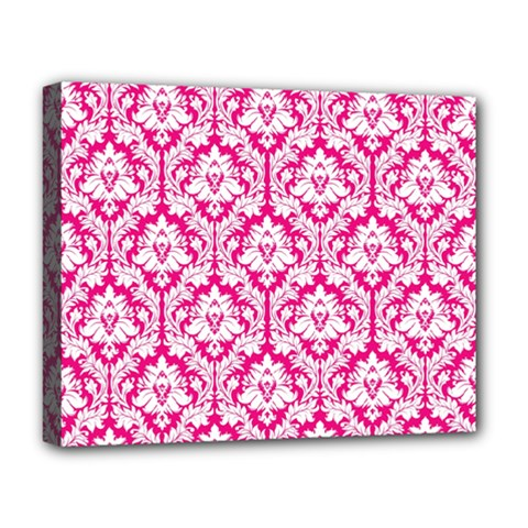 White On Hot Pink Damask Deluxe Canvas 20  X 16  (framed)