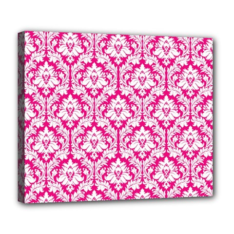 White On Hot Pink Damask Deluxe Canvas 24  X 20  (framed)