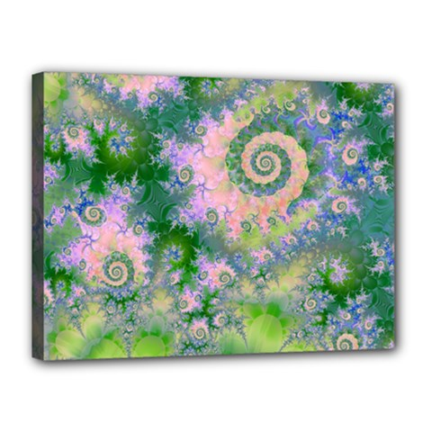 Rose Apple Green Dreams, Abstract Water Garden Canvas 16  x 12  (Framed)