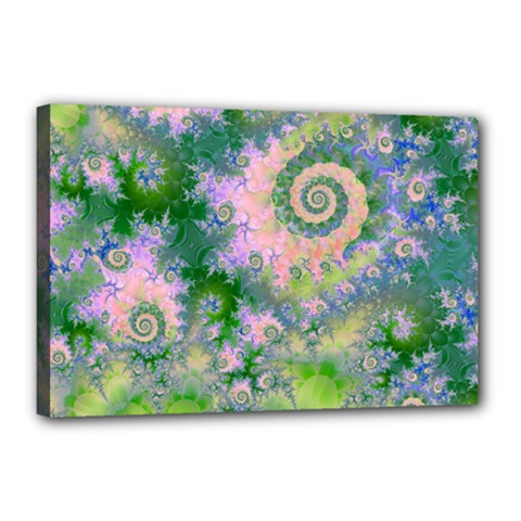 Rose Apple Green Dreams, Abstract Water Garden Canvas 18  x 12  (Framed)