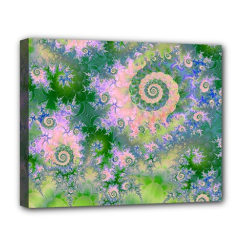 Rose Apple Green Dreams, Abstract Water Garden Deluxe Canvas 20  x 16  (Framed)