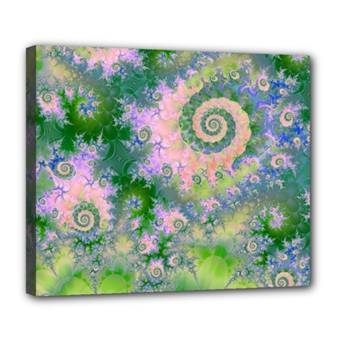 Rose Apple Green Dreams, Abstract Water Garden Deluxe Canvas 24  X 20  (framed)