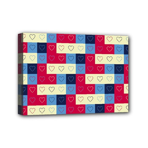 Hearts Mini Canvas 7  x 5  (Framed)