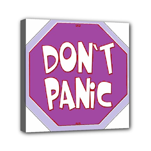 Purple Don t Panic Sign Mini Canvas 6  x 6  (Framed)
