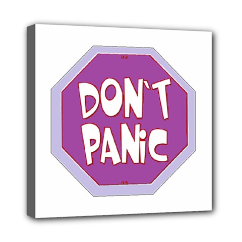 Purple Don t Panic Sign Mini Canvas 8  x 8  (Framed)