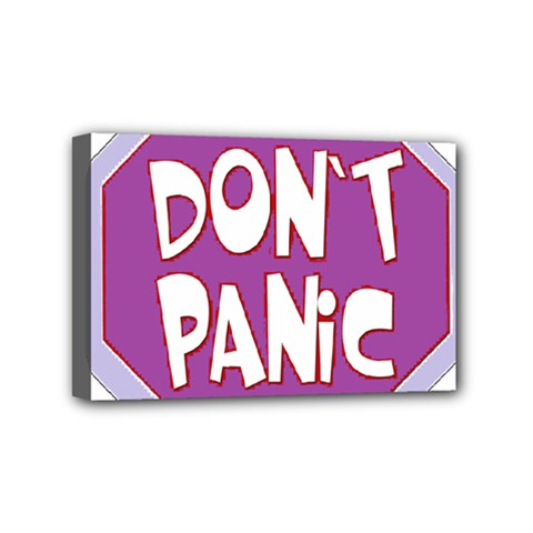 Purple Don t Panic Sign Mini Canvas 6  x 4  (Framed)