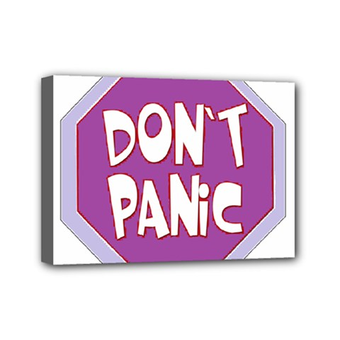 Purple Don t Panic Sign Mini Canvas 7  x 5  (Framed)