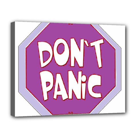 Purple Don t Panic Sign Canvas 14  x 11  (Framed)