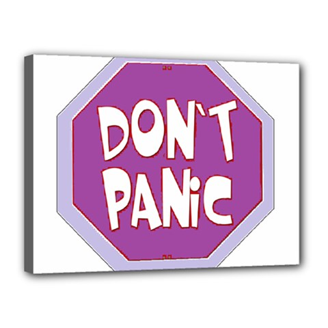 Purple Don t Panic Sign Canvas 16  X 12  (framed)