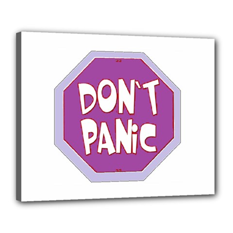 Purple Don t Panic Sign Canvas 20  x 16  (Framed)