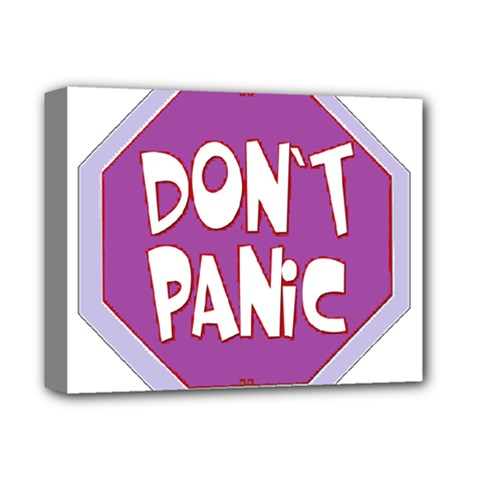 Purple Don t Panic Sign Deluxe Canvas 14  x 11  (Framed)