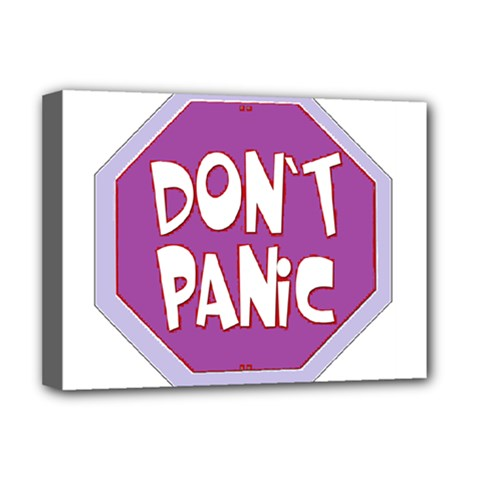 Purple Don t Panic Sign Deluxe Canvas 16  x 12  (Framed)