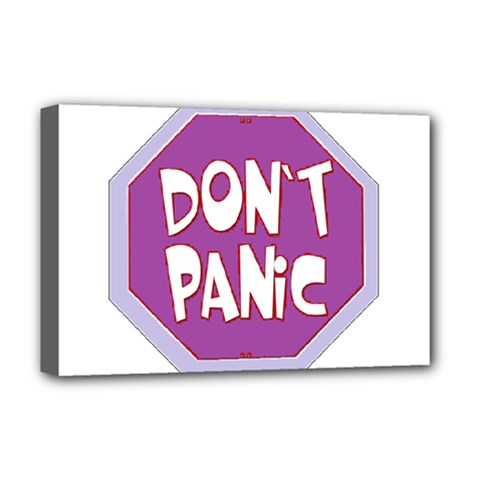 Purple Don t Panic Sign Deluxe Canvas 18  x 12  (Framed)