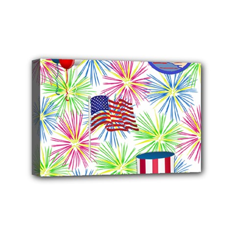Patriot Fireworks Mini Canvas 6  x 4  (Framed)