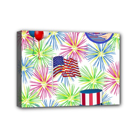 Patriot Fireworks Mini Canvas 7  x 5  (Framed)