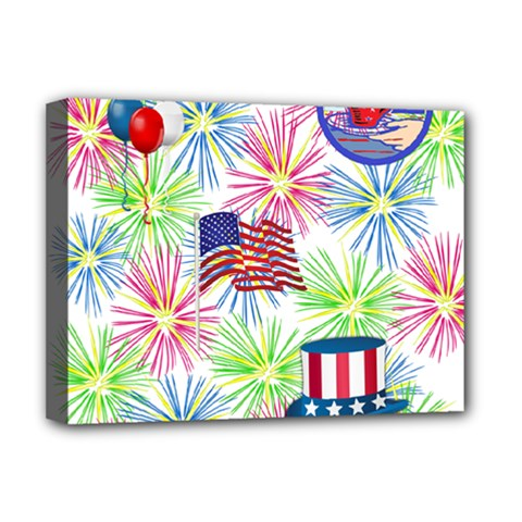 Patriot Fireworks Deluxe Canvas 16  X 12  (framed)