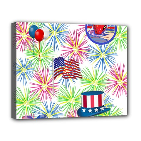 Patriot Fireworks Deluxe Canvas 20  x 16  (Framed)