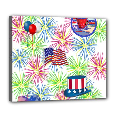 Patriot Fireworks Deluxe Canvas 24  x 20  (Framed)